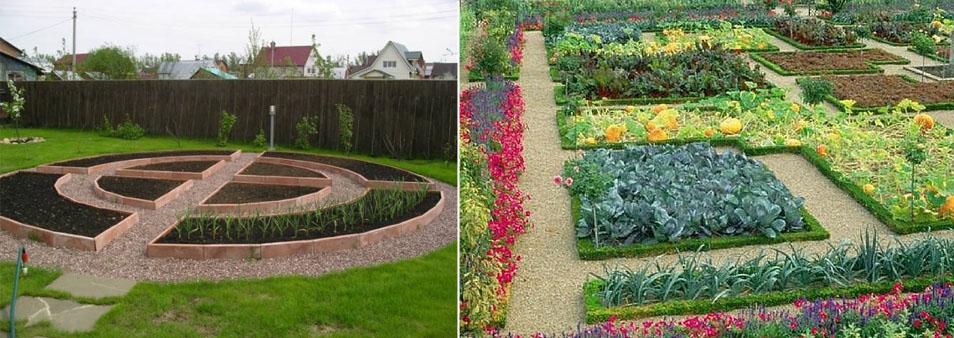 Отличным украшением участкаа будут грядки расположенные по центру. Если в эти грядки высадить растения различной цветовой гаммы, то такая грядка легко заменит клумбу с цветами.
