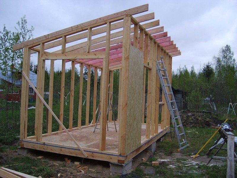 Пример каркаса сарая с односкатной крышей.