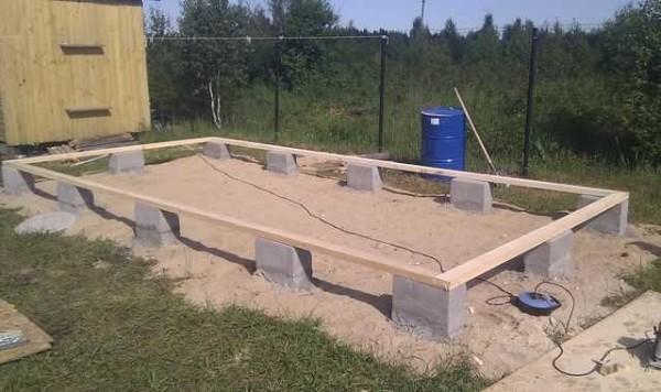 Фундамент для сарая из газобетонных блоков.