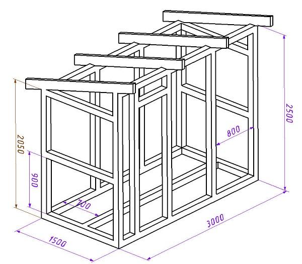 Проект сарая. Для стоек используется брус сечением 80х80 мм. В качестве стропил для крыши можно использовать доску 40х100 мм. Обрешётку можно делать из доски толщиной 20 -25 мм.