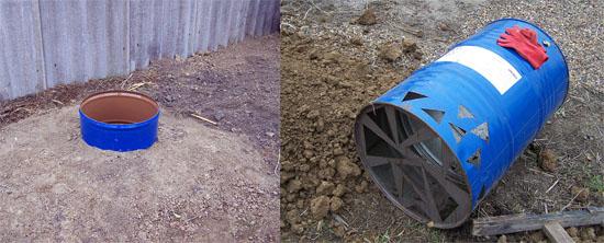 Выгребная яма из бочки. Для уличного туалета сезонного использования достаточный объем выгребной ямы 200 – 300 л. Выгребную яму удобно изготавливать из бочки. В бочке делают отверстия для дренажа, куда будет постепенно уходить жидкая фракция нечистот. Дно и периметр ямы засыпают щебнем или битым кирпичом.