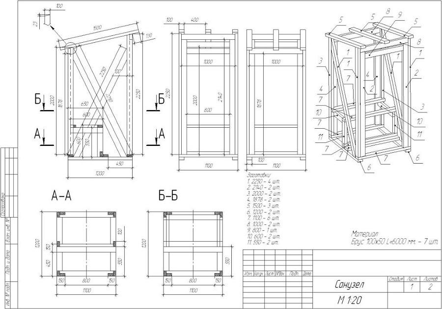 Туалет деревянный дачный чертежи