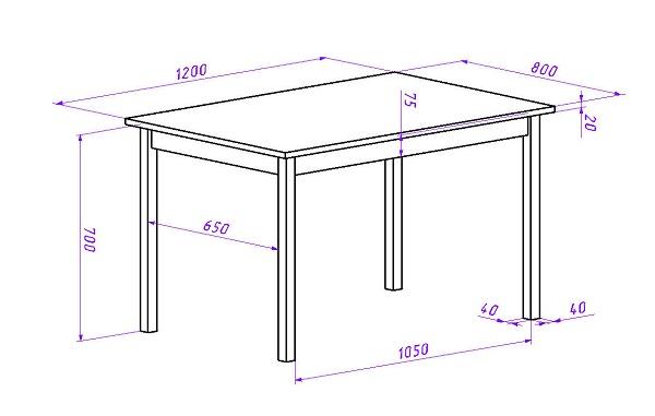 На рисунке приведен чертеж стола размером 80х120 см. Высота стола с учетом толщины столешницы 72 см. Это средний по размерам стол, который оптимален для небольшой семьи. Такой стол можно поставить на кухне, веранде, или беседке.