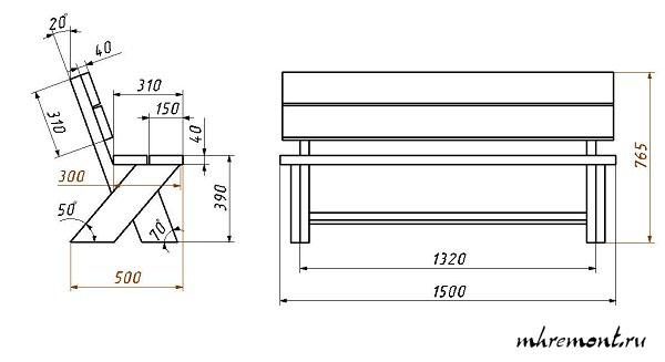 Скамейка со спинкой своими руками схемы и размеры 317