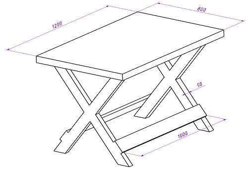 Чертеж стола с Х-образными ножками.