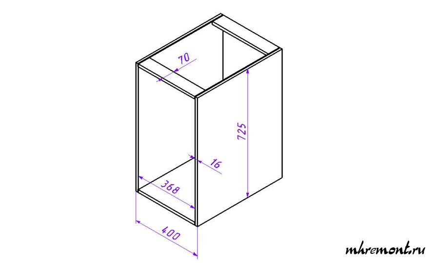 Чертеж шкафа с верхними планками.
