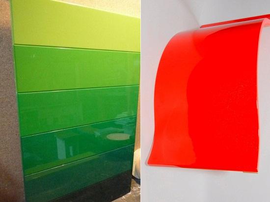 Окрашивание МДФ сильно расширяет возможное применение материала. Окрашенные панели МДФ применяются не только на кухне, но и в ванной комнате благодаря высокой влагостойкости.