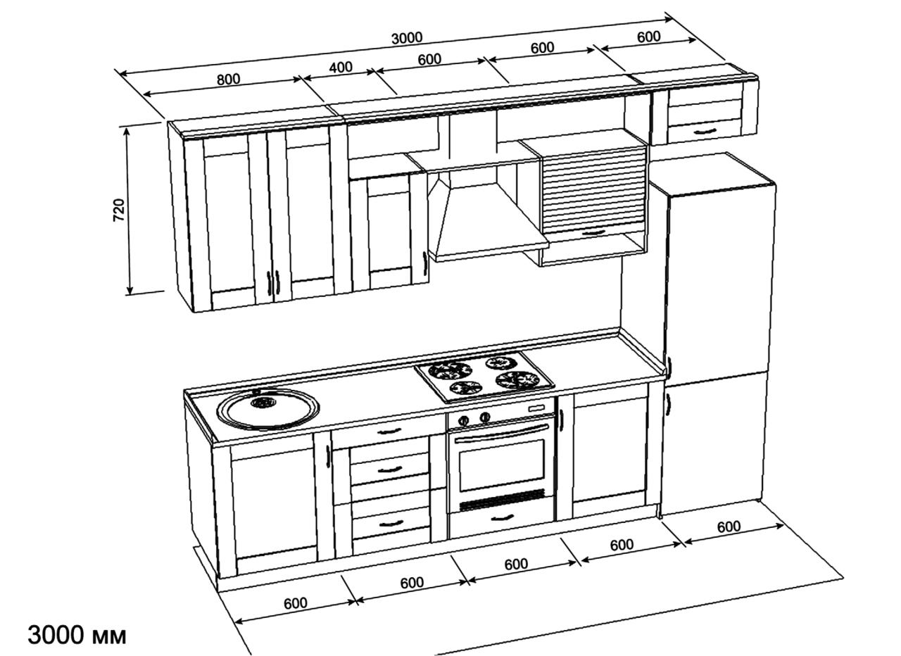 Чертеж кухонного гарнитура с размерами.