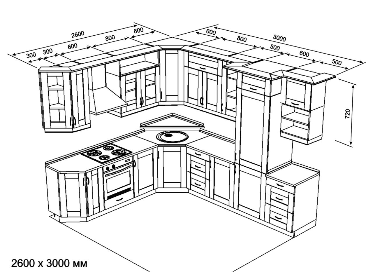 Как самому сделать чертежи кухни 363