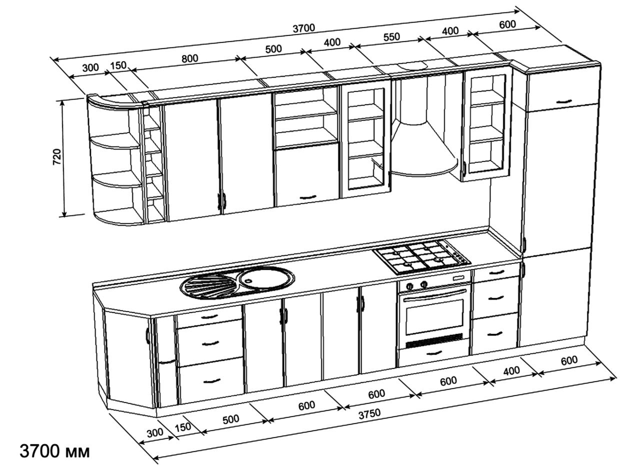 Как самому сделать чертежи кухни 987