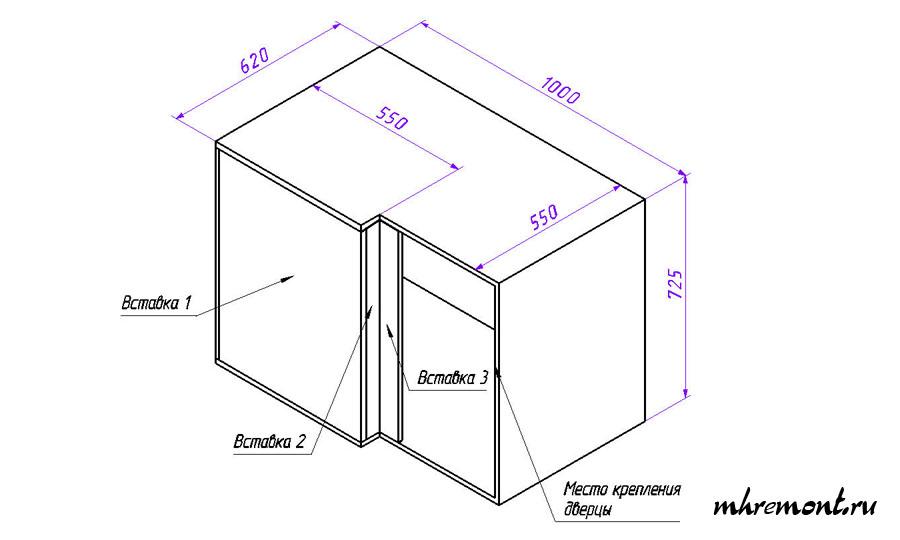 Прямой угловой кухонный шкаф чертеж. Нижний ряд.