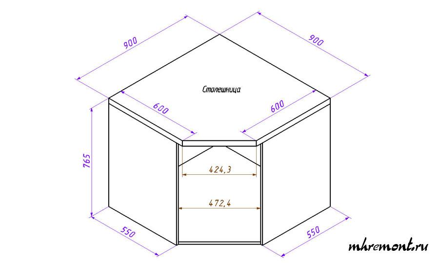 Угловой шкаф кухни чертеж. С углом 135 градусов.