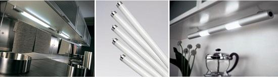 Люминесцентные лампы экономичны и долговечны, имеют высокую интенсивность освещения. Однако имеют значительные габариты, что не всегда позволяет вписать их в отведенное пространство.