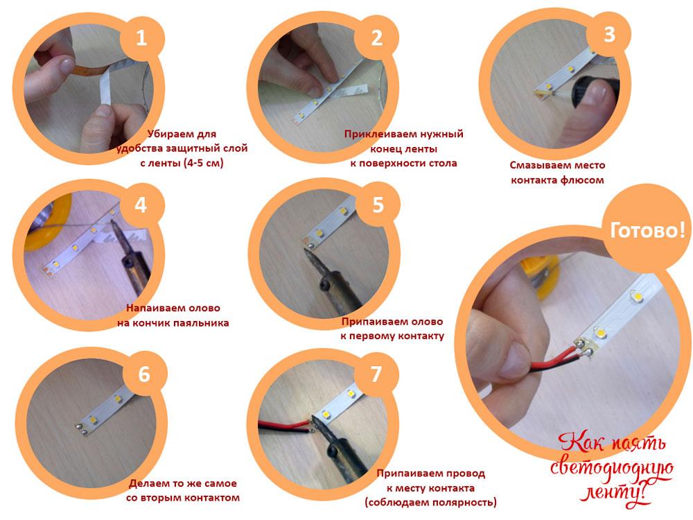 Соединение светодиодной ленты и проводки пайкой.