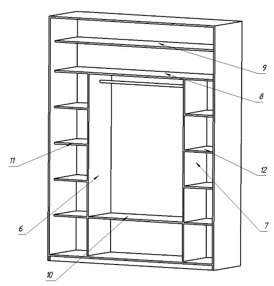 На втором этапе собирают наполнение шкафа. Для сборки применяются конфирмат, эксцентриковая стяжка и полкодержатели с фиксацией.