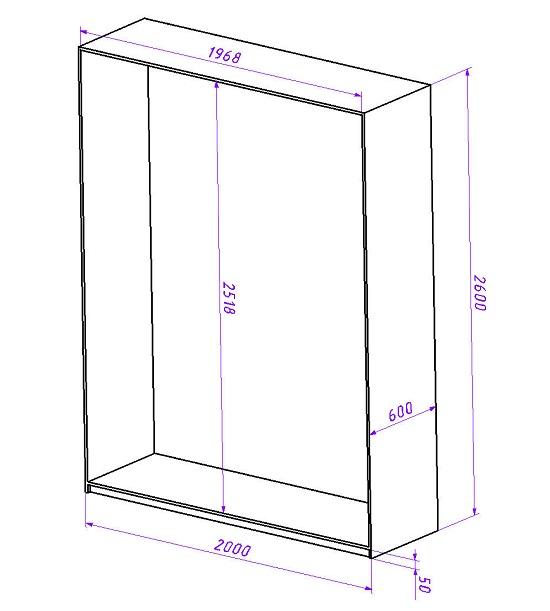 Проектирование шкафа-купе начинают с определения его габаритов. Зная габариты шкафа и учитывая высоту цоколя 5 см, а также ширину ЛДСП 16 мм, можно точно определить размеры внутренней части шкафа. Эти размеры необходимы для проектирования наполнения шкафа-купе и изготовления дверей-купе.