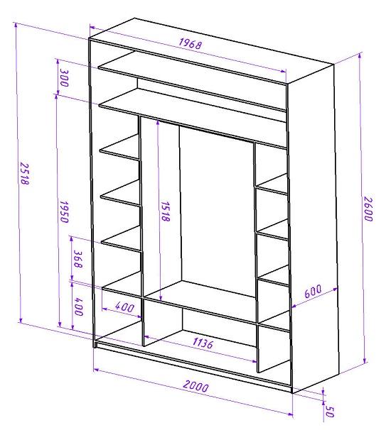 Пример наполнения шкафа-купе. В нижней части – пространство для обуви, в центральной для верхней одежды, сверху полки для редко используемых вещей, по бокам система полок высотой 35 см для остальных вещей.