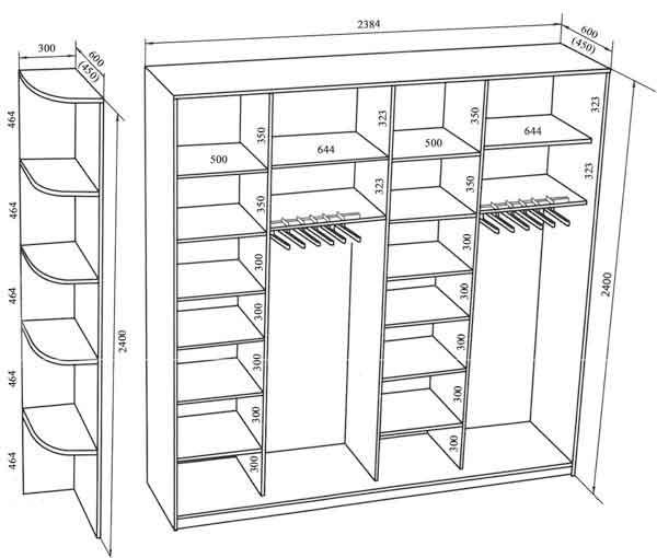 шкафы купе расположение полок внутри фото