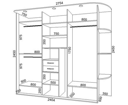 Этот вариант встроенного шкафа отлично подойдет для прихожей.