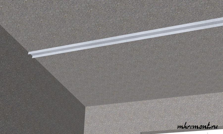 Сборку каркаса начинают с установи направляющих на потолке.