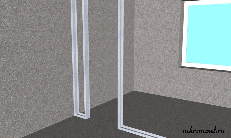 Следующий этап это установка основных стоек на стены и оформление проема для двери.