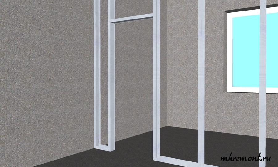 Последний этап сборки каркаса это окончательное формирование дверного проема. Размер проема под установку двери должен быть равен ширине двери + 2 ширины дверной коробки + 2 см для уплотнителя (пены) между каркасом и дверной коробкой.