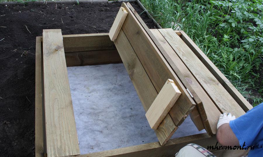 Песочница своими руками крышка скамейка